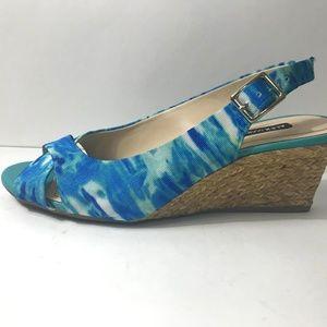 Alex Marie Shoes - Alex Marie peep-toe sling back Blue Cork Wedges 7
